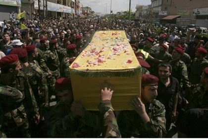 Coffin of Hizbullah terrorist killed in Syria