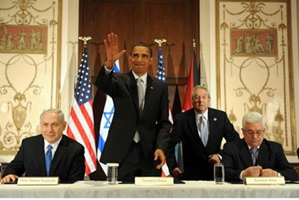Obama, Netanyahu and Abbas meet in New York, 2009