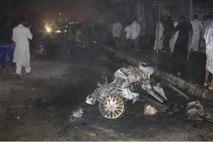Site of a car bomb attack in Nasiriyah city, south of Baghdad