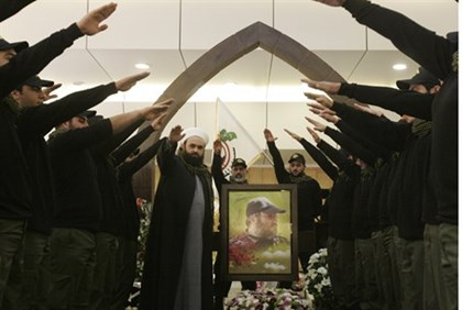 Illustration: Hezbollah supporters at memorial for slain leader Imad Mughniye