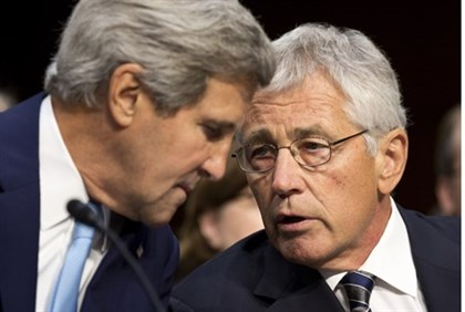Kerry and Hagel before meeting with Senate Foreign Relations Committee