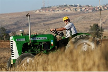 Man drivers tractor on Israeli kibbutz