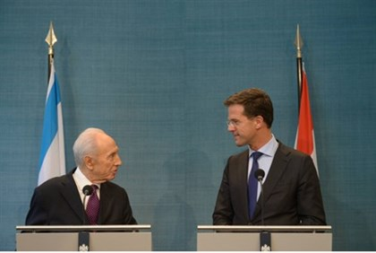 President Shimon Peres and Dutch prime minister Mark Rutte