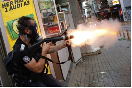 Police fire teargas towards protest in Turkey, July 6