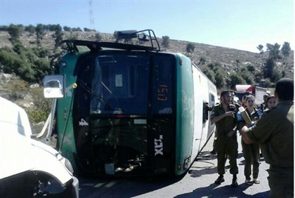 Overturned bus in Gush Etzion