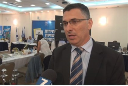 Interior Minister at elections HQ in Kfar Maccabiah