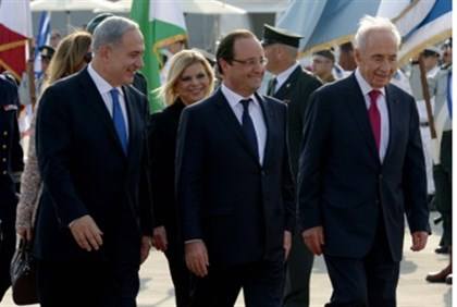 Netanyahu, Hollande, Peres on tarmac