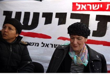 MK Shuli Mualem visits protest tent opposing prisoner releases outside the Prime Minister's house