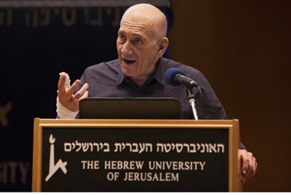 Olmert speaks at Hebrew University, Jan 6 2014