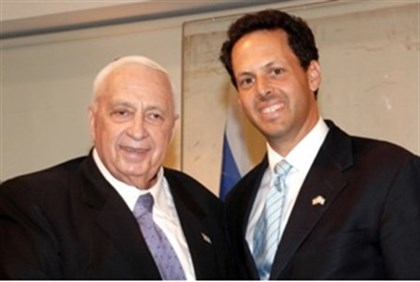 Ariel Sharon with Mark Wilf of Jewish Federations of North America weeks before the stroke