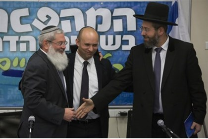Ben-Dahan, Bennett, Chief Rabbi Lau at Monday press conference