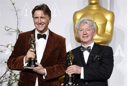 Nicholas Reed and Malcolm Clarke with their Oscar