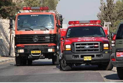 Fire trucks in Jerusalem (illustrative)