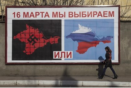 Poster encouraging Crimeans to vote for union with Russia (file)