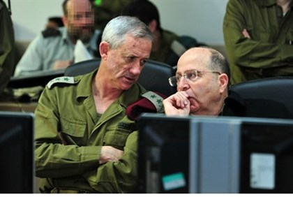 Defense Minister Moshe Yaalon with IDF Chief of Staff Benny Gantz