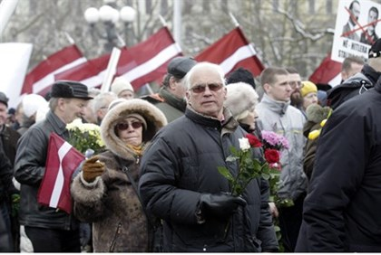 Annual procession commemorating the Latvian Waffen-SS.