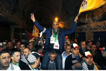 Freed terrorist Ahmed Khalaf in Jerusalem's Old City