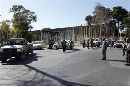 Security at the entrance to the Libyan parliament