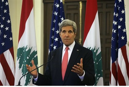 John Kerry speaks to reporters in Beirut