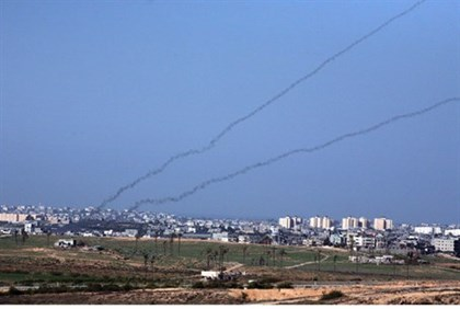 Rocket trails streaking out of Gaza