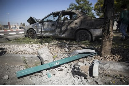Car damaged by Gaza rocket