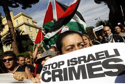 Pro-Palestinian demonstrators shout anti-Israeli slogans