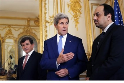 Kerry with Davotuglu, al-Attiyah.