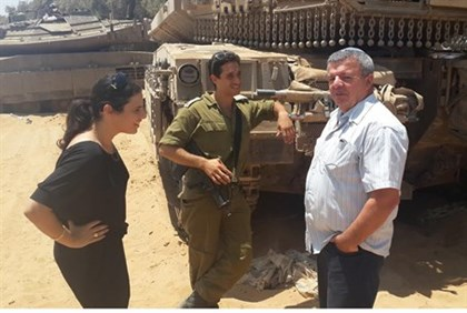 Shaked and Calfa visit an IDF soldier on the front