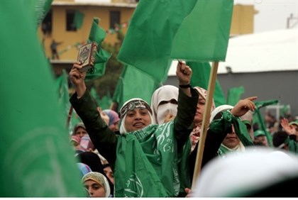 Hamas supporters in Gaza