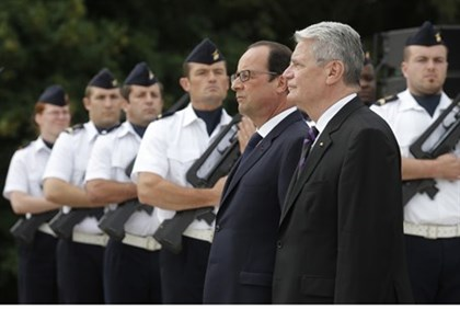French, German presidents at ceremony marking 100 years since the start of the First World War