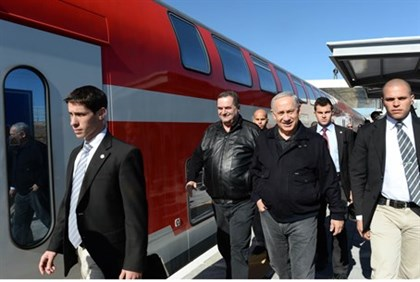 Binyamin Netanyahu visits the Sderot train station