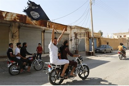 Islamic State supporters celebrate capture of Tabqa airbase, Syria