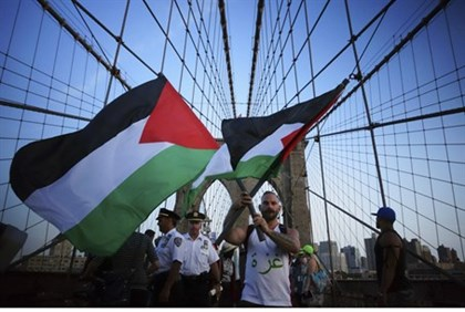 Anti-Israel protesters wave Palestinian flags in New York City