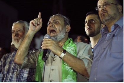 "Hamas official Mahmoud al-Zahar at ""victory rally"" in Gaza"