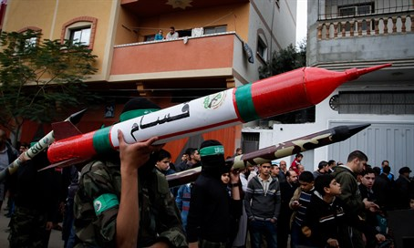 Hamas terrorists parade rockets in Gaza