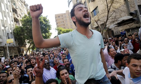 Egyptian protesters shout slogans against President Abdel Fattah al-Sisi and the government