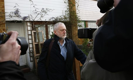 Jeremy Corbyn faces reporters outside his home after suspending Ken Livingstone