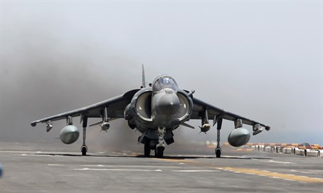 A US Air Force AV-8B Harrier II returns from striking ISIS in Iraq
