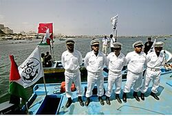 Hamas police wait for flotilla
