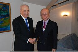 IAEA Chief Yukiyo Amano and President Peres at World Ec