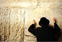 A Jew prays at the Western Wall