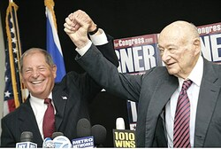 Bob Turner (left) and Ed Koch
