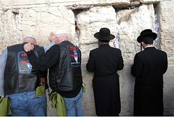Bikers and hareidi Jews at the Kotel.