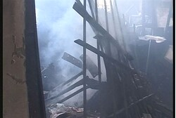 Inside torched Ramle synagogue