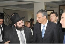 Azerbaijan Rabbi Shneor Segal with Israeli minister at Chabad school in Baku