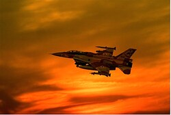 F-16i takes off at sunset