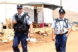 Police at a demolition