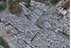 Satellite / (Digital Globe) image of govt bombing of Baba Amr