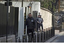 Police guarding French intelligence HQ