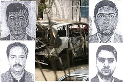 Delhi suspects, burnt car.
